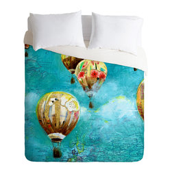 DENY Designs - Land Of Lulu Herd Of Balloons 2 Duvet Cover - Turn your basic, boring down comforter into the super stylish focal point of your bedroom. Our Luxe Duvet is made from a heavy-weight luxurious woven polyester with a 50% cotton/50% polyester cream bottom. It also includes a hidden zipper with interior corner ties to secure your comforter. it's comfy, fade-resistant, and custom printed for each and every customer.