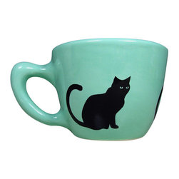 CircaCeramics - Handmade Black Cat Cup, Bubblegum - All of our ware is handmade completely from scratch, so you are getting a lovely fresh piece!