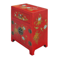 Golden Lotus - Chinese Red Leather Surface Flower Bird Motif Nightstand End Table - Look at this Chinese red nightstand end table hand paint side cabinet which is made of elm wood and the outside of cabinet is wrapped artificial leather, and the inside of cabinet has Chinese calligraphy on it.