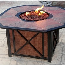 Oakland Living - Oakland Living Gas 43 Octagonal Firepit Table - The stylish natural stone fire pit table also functions as a great area to serve nibbles beverages or even enjoy a meal. This set is sure to turn up the heat on what may otherwise be a predictable meal outdoors. design is classic a 44 inch octagonal stone tile top fire bowl with crisscross patterns in the sides along with the side panels found in the base of the fire pit. And the centerpiece of this set offers unmatched beauty with natural stone tile placed in the top of the fire pit for that one-of-a-kind look. The design offers a traditional look which also serves to hide your propane tank from view. The base has an easy swing open door with castors which makes installing the LP gas tank very easy. The firepit does not come with a liquid propane tank but it does accept a 20 pound tank. Features include Rust Free Aluminum Construction Hardened Powder Coat Finish on the frame in Antique Bronze color for Years of Beauty Easy to Follow Assembly Instructions and Product Care Information. Specifications Finish: Antique Brown.