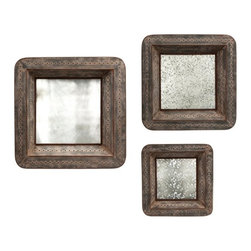 Vintage Mirror Tray Wall Decor - Set of 3 - *This set of three mirrored trays are designed to hang , adding warm vintage charm to your wall decor. With an antique mirror finish that reflects light and offers an elegant patina, these trays area a great way to add depth to your room.
