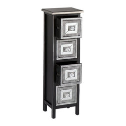 "Southern Enterprises Inc - Southern Enterprises Inc Franklin 4-Drawer Storage Tower X-6058CO - This stunning storage tower is a splendid addition to any room in need of a little extra storage and style. The concentric rectangular patterns invigorate a room without overwhelming it.  This storage tower features a black and silver finish with distressed edges and embellished drawer fronts. Crystal style knobs are framed by silver studding on a black background followed by a frame of mirror: the studding is repeated before ending with a silver striped border.  This lovely tower works wells in any room - entryway, hallway, living room, or bedroom. The refreshing design is perfect for homes with traditional, transitional, or modern d&#233:cor.  Please note: Our photos are as accurate as possible, but color discrepancies may occur between the product and your monitor. The handcrafted touch of artisan skill also creates variations in color, size, and design: slight differences should be expected.   - FEATURES:                                                                                             - Fir wood                                                                                              - No assembly required                                                                                  - Features 4 drawers for storage                                                                        - Alluring mirror and stud accents with crystal style knobs                                             - Transitional to contemporary design                                                                   - Distressed black with silver finish                                                                   - PRODUCT SPECIFICATIONS:                                                                               - Drawers: 6"" W x 6.75"" D x 5.5"" H                                                                      - Clearance: 2.75"" H                                                                                    - Approx. weight: 19 lb.                                                                                - Supports up to: 15 lb. (top), 8 lb. (per drawer)                                                      - Materials: MDF, fir, mirror, acrylic                                                                  - Overall: 10.75"" W x 9"" D x 33"" H"