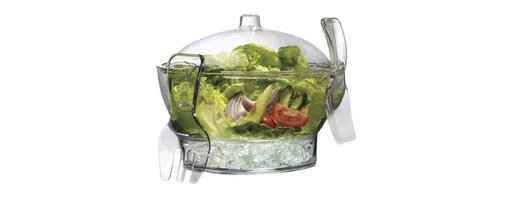 PRODYNE - Acrylic Cold Bowl on Ice with Serving Spoon Fork - Keep your salads crisp and cool with this innovative party bowl. The bottom compartment holds ice and vents insure cold air flows free. Your dish stays perfectly chilled, even on sweltering hot days. Includes a divided appetizer insert with dip cup and salad servers that conveniently hook onto the sides.