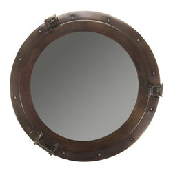 "Authentic Models - Lounge Porthole Large Mirror in Bronze - Measuring 20 inches, this solid cast bronze mirror is an AM classic. For nautical themed rooms, beach cabin porches, executive offices. Features: -Large mirror. -Faux bronze finish. -Constructed of aluminum. -High quality home dcor. -Detailed rivets and hinges. Specifications: -Overall dimensions: 20.1"" H x 20.1"" W x 2.8"" D."