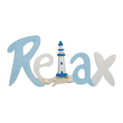 """Wooden Relax Plaque - The relax plaque measures 18"""" x 14"""". This item is made of wood. It's painted blue and white with a lighthouse and shells in the middle. It makes a great gift  works well in many decor environments."""