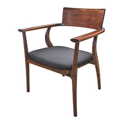 Kathy Kuo Home - Alfie Mid Century Modern Walnut Black Leather Dining Arm Chair - Refined and elegant, this armchair invites your guests to sit and relax awhile. The generous scale offers classic comfort in a curved seat, upholstered with supple, black leather. The rich earth tones of the wood and seat add a rustic touch to the modern lines of this charming chair.