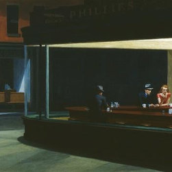 Wallmonkeys Wall Decals - Fine Art Murals Nighthawks by Edward Hopper  - 24 Inches W x 13 Inches H - Easy to apply - simply peel and stick!