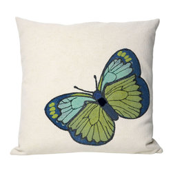"Trans-Ocean - Butterfly Green Pillow - 20"" SQ - The highly detailed painterly effect is achieved by Liora Mannes patented Lamontage process which combines hand crafted art with cutting edge technology.These pillows are made with 100% polyester microfiber for an extra soft hand, and a 100% Polyester Insert.Liora Manne's pillows are suitable for Indoors or Outdoors, are antimicrobial, have a removable cover with a zipper closure for easy-care, and are handwashable."