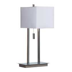 Kenroy - Kenroy 30815CH Emilio Transitional Accent Table Lamp - Elegant box shapes, in natural, textured shades, define Emilio's look, while a firm modern base and sleek pull chain add contemporary cool.