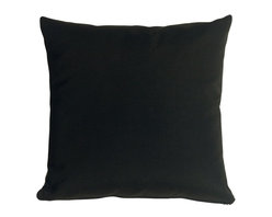 Pillow Decor - Pillow Decor - Sunbrella Black 20 x 20 Outdoor Pillow - These pillows are made with renowned Sunbrella outdoor fabric. Adds a lush touch to your outdoor decor. Mix and match with other pillows in this series, fantastic stripes & solids in fresh, happy colors!
