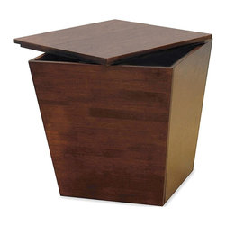 Winsome Wood - Cube Storage End Table - Adorable, walnut finished cube table is a creative way to store anything you can think of. Its unique design features a sturdy table top for a subtle accent piece, yet opens up easily so you can bring out what you need. * Great storage solution. Tapered design. Antique Walnut finish. Beechwood construction. 18-1/2 in W x 18-1/2 in D x 18 in H, Wt: 29 lbs.