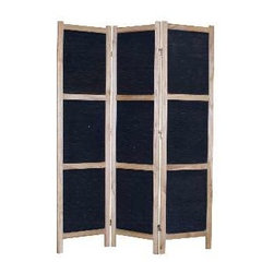 TOBIN SCREEN - Divide your space with rustic elegance, when you use this black panel wooden mat screen as a separator. Stunningly framed in Paulownia wood, this stately screen is finished on both sides, and is perfect for both outdoor and indoor use.