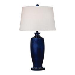 Dimond Lighting - Halisham - Navy 1-Light Table Lamp in Navy Blue with Black Nickel - Dimond Lighting D2524 Halisham - Navy 1-Light Table Lamp in Navy Blue with Black Nickel. Navy blue ceramic table lamp with white shade.