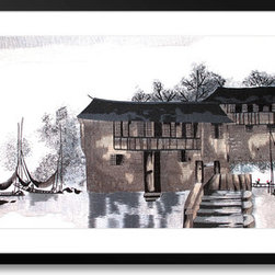 Water Town - Hand Designed, Hand Framed Silk Embroidery Art - Silk embroidery art was invented in China over 2,500 years ago. This high quality silk art is created using embroidery techniques developed from the world famous Suzhou style of silk embroidery. Each piece contains over 100,000 stitches on average.