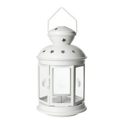 Rotera Lantern for Block Candle - For a super affordable option and punch of drama, add a 15 inch Ikea lantern to your outdoor space.  I love the etched star pattern on the glass panels.  Use the large size alone, or mix it up by adding in some of the smaller version too!