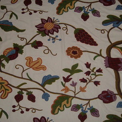 Crewel Fabric World by MDS - Crewel Fabric Palampore Off White Cotton- Yardage - Artisans in a remote mountain village in Kashmir crewel stitch these blossoms, vines and leaves by hand, resulting in a lush pattern of richly shaded wool yarns on Linen, Cotton, Velvet and Silk.