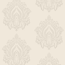 Walls Republic - Orbit Pearl Wallpaper R1922, Double Roll - Orbit is a flocked curvilinear damask pattern available in a wide variety of neutral shades with a luxurious velvety touch. The large scale intricate damask motif will have an opulent lush look in your interiors. Use it in your living room or bedroomfor a