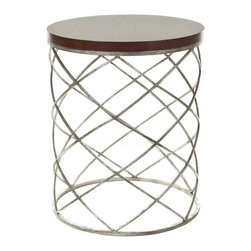 Safavieh - Phoebe Accent Table - The drum-shaped Phoebe accent table is crafted of interlaced ribbons of iron finished in a warm silver leaf patina and topped with a dark cherry-stained solid wood top that appears to float on a web of precious metal.