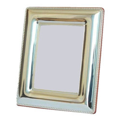 """Silverstar International - 3.5""""x5"""" Eve II Silver Sterling Picture Frame - Eve 25th anniversary picture frame is ideal for the happy couple to showcase wedding photos, and memorable moments of their life. Designed with a simple beaded outer border, Silverstar's 925 bi-laminated Sterling Silver picture frame is meticulously manufactured to an aluminum base for strength attached to a veneer mahogany wooden back & easel and a slide tab closure for easy photo access. Every Silverstar picture frame is designed with a tarnish resistant surface for easy cleaning and glare resistant glass. Display & showcase your best photographs in either a landscape or portrait position."""
