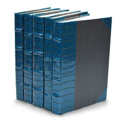 Exotics Collection III Books- Blue Croc - Set of 5 - Bright and glossy in Aegean blue, the faux crocodile leather on the spines of the Exotics Collection III decorative books provides a perfect complement to deep turquoise and marine shades e and if your decor incorporates touches of the Nile Delta or other lapis-tinted Near Eastern aesthetics, these reptilian bindings are a subtly flashy addition.