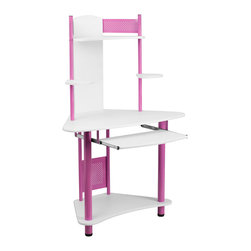 Flash Furniture - Flash Furniture Pink Corner Computer Desk with Hutch - NAN-JN-2705-PK-GG - This computer workstation provides a convenient workspace with a splash of color! This computer desk allows a place to put your computer monitor or laptop, keyboard, cpu, printer and speakers. The corner workstation design allows you to save floor space. [NAN-JN-2705-PK-GG]