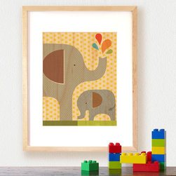Petit Collage - Framed Elephant Baby Art Print on Wood - Framed Small Elephant Art Print on Wood