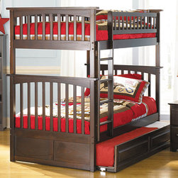 Antique Walnut Columbia Twin over  Twin Bunk Bed - Fantastic! This is 3 beds in one small space. Get the Antique Walnut Columbia Twin over Twin Bunk Bed with Raised Panel Trundle Bed - Atlantic Furniture to add optimal sleep space for your child and siblings that also like to sleep close by. This bed comes in a stunning Antique Walnut that will add elegance to any room and look beautiful with any decor. Having the two beds for daily use if two siblings share a room will come in handy. Pull out the trundle bed for a 3rd sleep space and you'll have enough room for a fun sleepover or a place for visiting relatives to snooze.