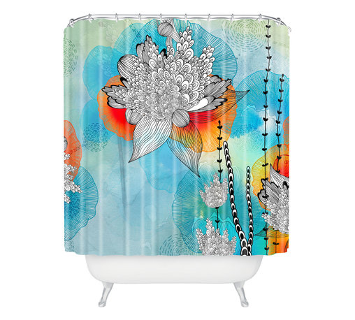 DENY Designs - Iveta Abolina Coral Shower Curtain - Your shower curtain might be the largest surface in your bathroom — why not use that space for a decorative centerpiece? This beautiful shower curtain designed by Iveta Abolina creates a sense of spaciousness with its extra large floral print floating over a watery blue background. Orange fronds peek from beneath the black and white blooms to give them just the right amount of pop.