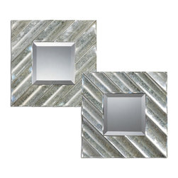 Uttermost - Jovan Squares Set of 2 Silver Mirror - Frames are constructed of antiqued mirrors molded in a scalloped fashion. Mirrors are beveled.