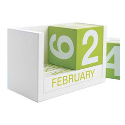 "Design Ideas - Design Ideas Block Calendar, Green - We all played with blocks as kids and laughed while doing so! Bring out the happy kid everyday as you set the date by playing with the blocks. Flip the colorfully painted green blocks to designate the correct date and month. Whew, no need for glasses, the ThreeSixFive calendar never hides the date from you! 5.5"" x 2.8"" x 3.5""  January thru December 1-31."