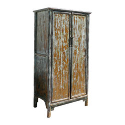 "Golden Lotus - Tall Chinese Antique A Shape Rustic Cabinet Armoire - Look at this Chinese antique storage ""A"" shape Ming style cabinet which is made of solid elm wood.  It can be also used as armoire."
