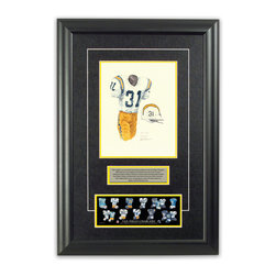 """Heritage Sports Art - Original art of the NFL 1968 San Diego Chargers uniform - This beautifully framed piece features an original piece of watercolor artwork glass-framed in an attractive two inch wide black resin frame with a double mat. The outer dimensions of the framed piece are approximately 17"""" wide x 24.5"""" high, although the exact size will vary according to the size of the original piece of art. At the core of the framed piece is the actual piece of original artwork as painted by the artist on textured 100% rag, water-marked watercolor paper. In many cases the original artwork has handwritten notes in pencil from the artist. Simply put, this is beautiful, one-of-a-kind artwork. The outer mat is a rich textured black acid-free mat with a decorative inset white v-groove, while the inner mat is a complimentary colored acid-free mat reflecting one of the team's primary colors. The image of this framed piece shows the mat color that we use (Yellow). Beneath the artwork is a silver plate with black text describing the original artwork. The text for this piece will read: This original, one-of-a-kind watercolor painting of the 1968 San Diego Chargers uniform is the original artwork that was used in the creation of this San Diego Chargers uniform evolution print and tens of thousands of other San Diego Chargers products that have been sold across North America. This original piece of art was painted by artist Nola McConnan for Maple Leaf Productions Ltd. Beneath the silver plate is a 3"""" x 9"""" reproduction of a well known, best-selling print that celebrates the history of the team. The print beautifully illustrates the chronological evolution of the team's uniform and shows you how the original art was used in the creation of this print. If you look closely, you will see that the print features the actual artwork being offered for sale. The piece is framed with an extremely high quality framing glass. We have used this glass style for many years with excellent results"""