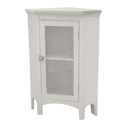 None - Classique Corner Floor Cabinet - This white corner floor cabinet is perfect for storing toiletries and towels in bathrooms where space is limited. The glass door adds an attractive touch and it allows you to easily take inventory on supplies, so you know when it's time to refill.