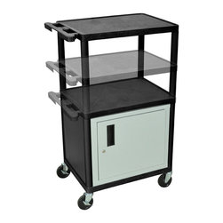 Luxor - Luxor Presentation Cart - LPDUOC-B - Luxor's LPDUO presentation stations have shelves and legs made from high density polyethylene structural foam molded plastic