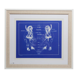 """Deep Sea Diver Blueprint With Frame - Authentic nautical blueprints in a premium quality wooden white frame and linen matting.Dimensions: 36"""" height, 31.5"""" width, 0.5"""" depth"""