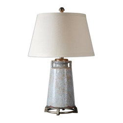 Matthew Williams - Matthew Williams Caminata Blue Glaze Transitional Table Lamp X-75562 - Textured ceramic finished in a distressed light blue glaze with rust undertones, tan glaze and antiqued silver details. The round tapered hardback shade is a beige linen fabric.