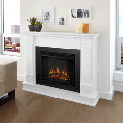 Real Flame - G8600E-W Silverton Electric Fireplace by Real Flame - Get cozy with a loved one in front of this elegant real flame electric fireplace. With a classy design featuring stately pillars, this electric fireplace includes a remote control with programmable brightness and thermostat settings.