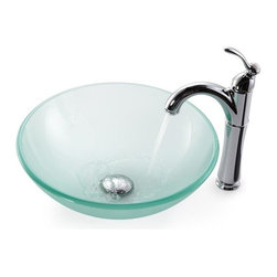 Kraus - Frosted Glass Vessel Sink and Rivera Faucet (Chrome) - Finish: Chrome