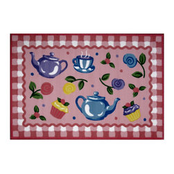 """Fun Rugs - Tea Party Olive Kids Collection Rug - 39"""" x 58"""" - This colorful rug has tea party design Collection Name: Olive Kids; 100% Nylon Dimensions: 39"""" x 58"""""""
