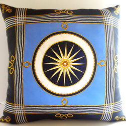 Petra&Jules Embellished Wear Nautical Pillows - Nautical silk fabric with jet blue faux suede backside. Zipper closure. Pillow Form included.