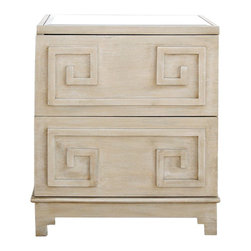 Worlds Away Pagoda Limed Oak Nightstand - This is a more modern interpretation of chinoiserie. The simpler geometric overlay patterns and beveled mirror make for a more contemporary glamour and transitional versatility.