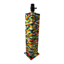 """MR Brick Designer - Big Colorful Column LEGO Desk Lamp - Red, blue, yellow, white, black, dark green and lime green are used in this lamp. Containing 676 LEGO® bricks and standing 19"""" tall this lamp is BIG and is sure to get attention wherever it goes! You can be sure no one else on 'your block' has one of these!"""