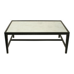 Imperial Coffee Table - Hand Rubbed Black - Simplified stretchers and a contrast top look cultivated and crisp in the Imperial Coffee Table. This low surface opens the space of a traditional room, rendering it a touch more casual and allowing greater personality into your mix of home accents, and deepens the look of a transitional room with its utilitarian attraction. Raised edges and a faint taper to the cocktail table's square legs evidence fine craftsmanship to the furniture connoisseur.