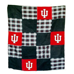 Traditions Art Glass Studios - Indiana University Quilt - -Large 50 x 60 Ultra suede patchwork quilt with chenille school logos  -Great for tailgating, keeping warm at games, or watching games on TV  -Machine washable. Traditions Art Glass Studios - IND805