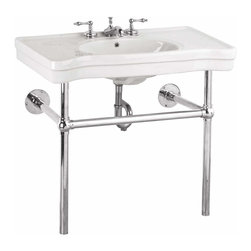 """Renovators Supply - Console Sinks White China Belle Epoque Deluxe Chrome Bistro 4"""""""" 
