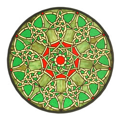 Meyda Tiffany - Meyda Tiffany Knotwork Trance Medallion Tiffany Window X-72515 - From the Knotwork Trance Collection, this Meyda Tiffany medallion Tiffany window features beautiful shades of Irish green with knotwork patterning and red accenting that draws the eye in. The knots are highlighted by shades of yellow, creating a dazzling effect.