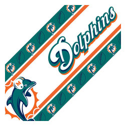 Sports Coverage - NFL Miami Dolphins Football Peel Stick Wall Borders Roll - Features: