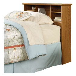 Sauder - Sauder Orchard Hills Twin Bookcase Headboard in Carolina Oak finish - Sauder - Headboards - 401293 - This bookcase headboard is twin size and has rear cord access. This headboard is constructed from high quality hard wood and soft wood materials veneered and laminated with a Carolina Oak finish. The T-lock assembly will save you time while assembling your headboard. This assembly system eliminates the use of screws allowing you to build the drawers in half the normal time.