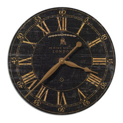 Uttermost - Bond Street 18 Inch Black Clock - Laminated clock face with a weathered, crackled look. Requires 1-AA battery. Uttermost - 06029