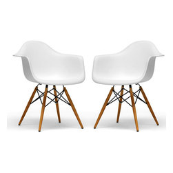 Baxton Studio - Retro-classic White Accent Chairs - A classic pair of sleek, white, retro-style chairs at a great price add a modern touch to any room.